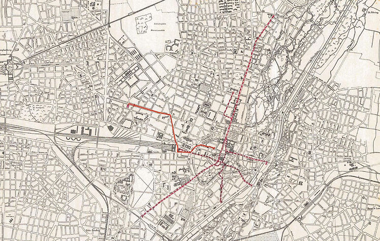 Das Liniennetz von Pferdebahn und Pferdeomnibus 1876. Archiv FMTM e.V. tram trambahn münchen karte streckenplan