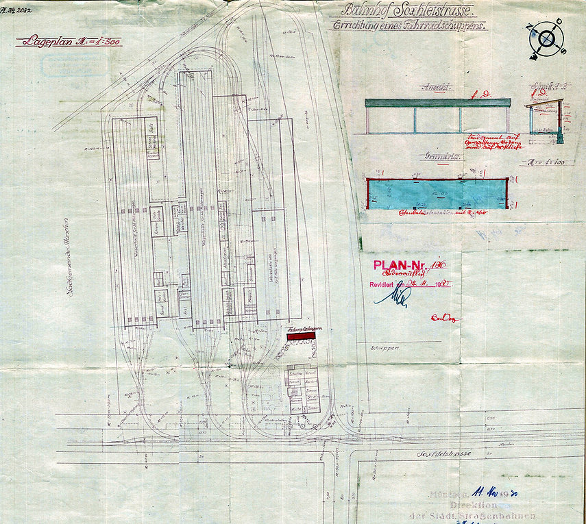 1930-11-11_Gleisplan_Soxhletstraße Unser Gleisplan ist auf das Jahr 1930 datiert und zeigt die nun drei großen Hallen
