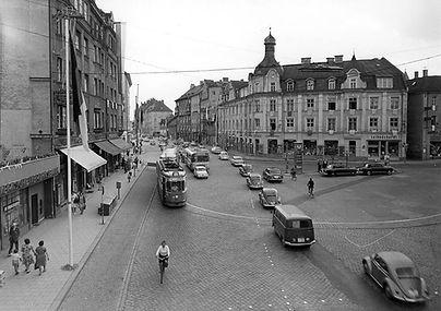 Ansicht der Endhaltestelle Pasing Marienplatz von Westen 1963 münchen tram