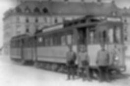 E-Tw 589 + e-Bw an der Endhaltestelle Hofmannstraße 1926 tram münchen