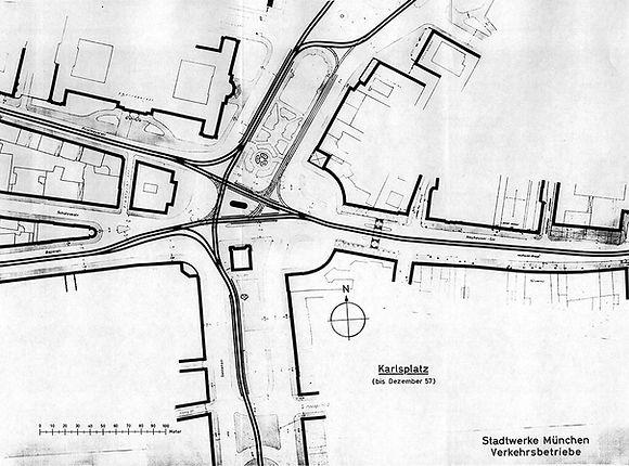 Gleisplan vor Dezember 1957 Karlsplatz Stachus