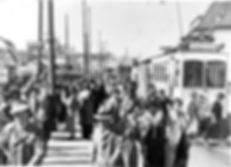 A1-Tw 302 an der Ausstiegshaltestelle Thalkirchen Tierpark 1938 München tram