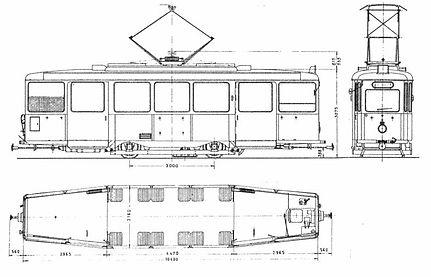 TRIEBWAGEN TYP J 1.30 München Tram Skizze bauskizze blueprint