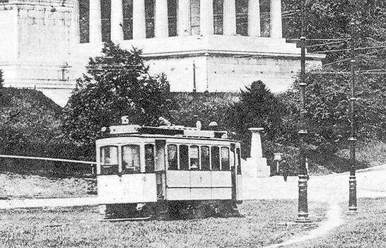 A-Tw 302 an der Endhaltestelle Bavaria 1908 München Tram