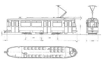 TRIEBWAGEN TYP M 5.65 skizze blueprint zeichnung bauzeichnung tram münchen