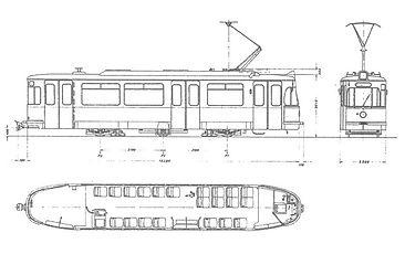 TRIEBWAGEN TYP M 5.65 Skizze bauzeichnung tram münchen