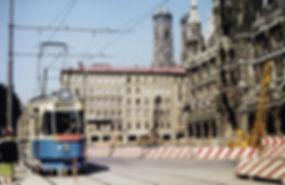 Tw 971 + Bw am Marienplatz auswärts 20.4.1968 München tram