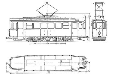 TRIEBWAGEN TYP G 1.8 bauskizze skizze bkueprint münchen tram