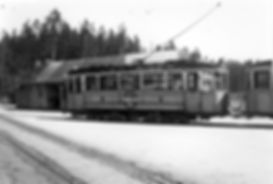D5-Tw 441 an der Endhaltestelle Großhesseloher Brücke 1952 tram München