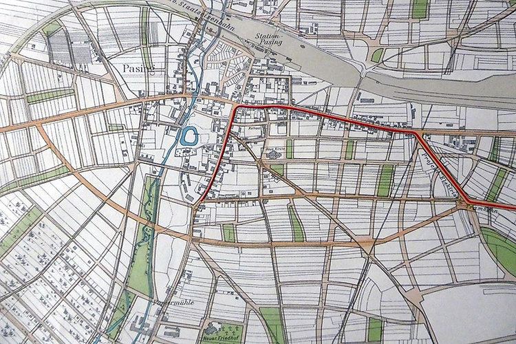 1906 Planung Trambahn nach Pasing Detail
