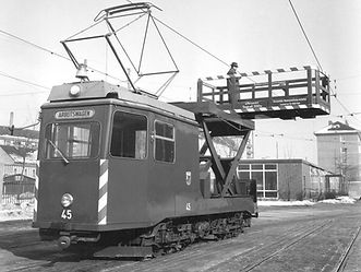 Turmwagen  Typ: Tu 1.8 Betriebsnummer: 45 münchen tram trambahn oerleitung