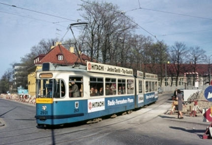 P1.65-Gelenktriebwagen (ex 101) Nr. 2901 wurde ab 1973 als Personalwagen verwendet (Hauptwerkstätte); © Foto: Dieter Kubisch tram münchen