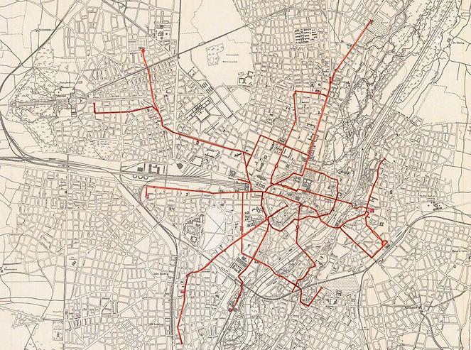 Das Liniennetz der MTAG 1900 nach Abschluss der Elektrifizierung Archiv FMTM e.V. münchn tram trambahn netzplan