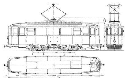 Die Typenskizze zeigt einen D 6-Triebwagen im letzten Betriebszustand (ca. 1965-1972). münchen Tram D typ