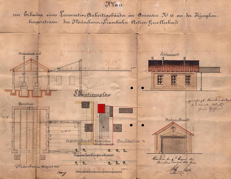 Plan zur Erbauung einerLokomotov-Anheizhalle an der Nymphenburgerstraße6.August 1883.