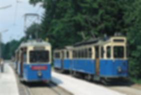Unsere Museumswagen nach der Eröffnungsfahrt am 1.Juni 1996 in der Wendeschleife Amalienburgstraße tram münchen fmtm