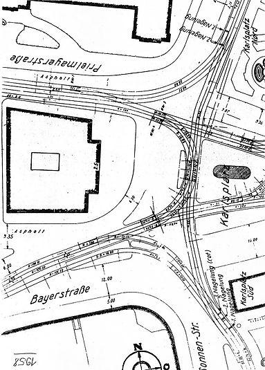 1958  Karlsplatz Stachus Gleisplan