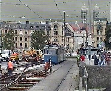 Stachus karlsplatz Gleisbauarbeiten Baustelle FMTM 1999