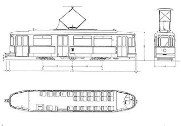 M 2.64 -Wagen münchen tram skizze auszeichnung blueprint tram