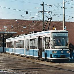 Vorstellung von Münchens erster Niederflurtram am 7.12.1990. Foto: Günther Dillig münchen Tram