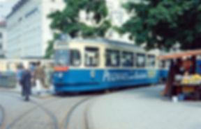 M3-Tw 782 + m3-Bw 1626 in der Wendeschleife Sendlingertorplatz 22.6.1967 tram München