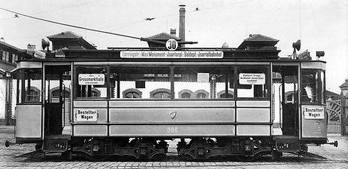 B-Tw 396 im Betriebshof Schäftlarnstraße 1915 münchen tram