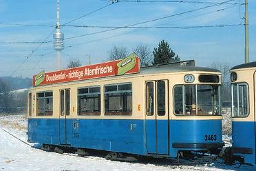 Der m4-Beiwagen 3463 im Januar 1996 in der Ackermannschleife. Aufnahme: Klaus Onnich münchen tram