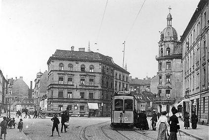 A1-Tw 305 in der Steinstraße 1908 münchen Tram