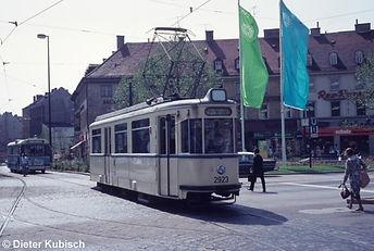 München tram Fahrschulwagen 2923 1972 am Sendlinger Tor Platz
