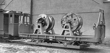 Transportwagen/Fahrdrahttrommel  Typ: q 6.50 Betriebsnummer: 886 im Jahr 1930 München Tram