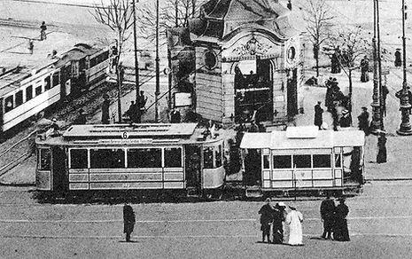 B-Tw 383 + a-Bw am Stachus Richtung Schwabing 1909 tram münchen