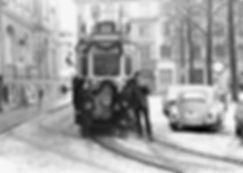 F1-Tw 626 am 28.2.1970 bei der Abschiedsfahrt am Nikolaiplatz münchen tram trambahn
