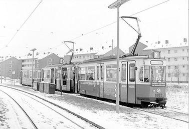 M5-Dreiwagenzug mit Tw 1002 am Hasenbergl 3.1.1961 tram münchen