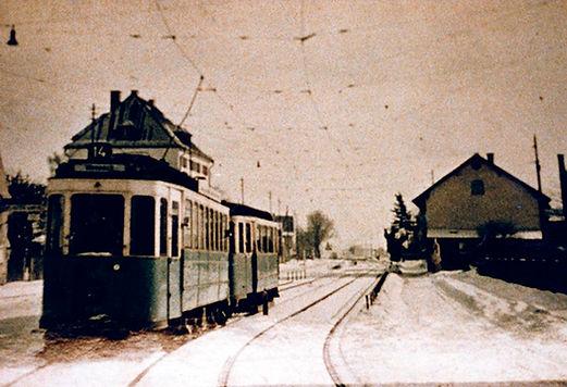 D-Tw an der Haltestelle Pelkovenstraße auswärts 1938 tram münchen