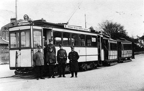 A2-Tw 249 mit 2 Bw in der Schleife Elsenheimer Straße 1926 tram münchen