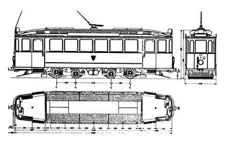 Bauskizze Typ E 2.8 Triebwagen tram münchen fmtm