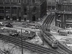 Baustelle 1964 Lenbachplatz Doppelgleis zur Bernheimer Klamm Ottostraße