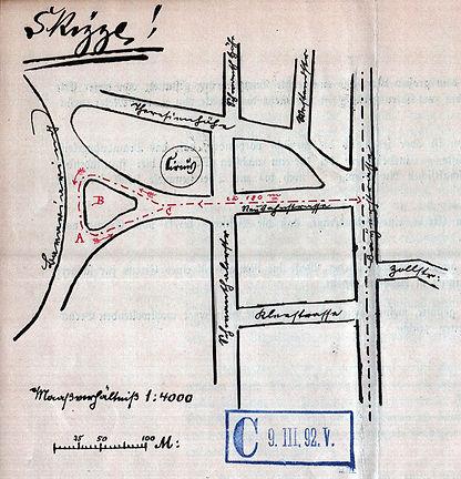 1892-03-09 Skizze Trambahnschleife an de