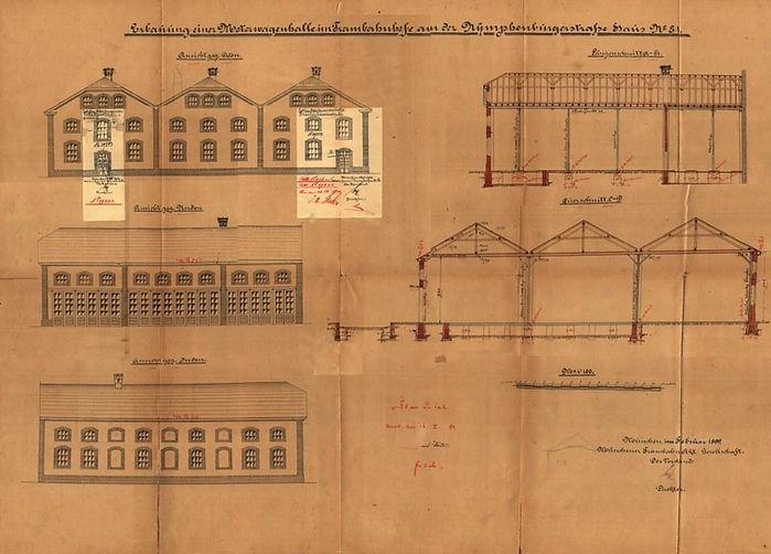 Plan zur Erbauung einer neuen Motorwagenhalle in dem Trambahnhof an der Nympenburgerstraße 81 vom Februar 1899 München