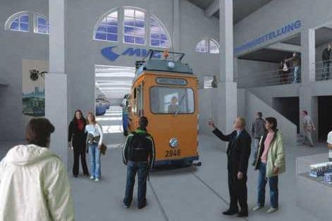 Computer-Simulation vom neuen Museum münchen tram museum fmtm