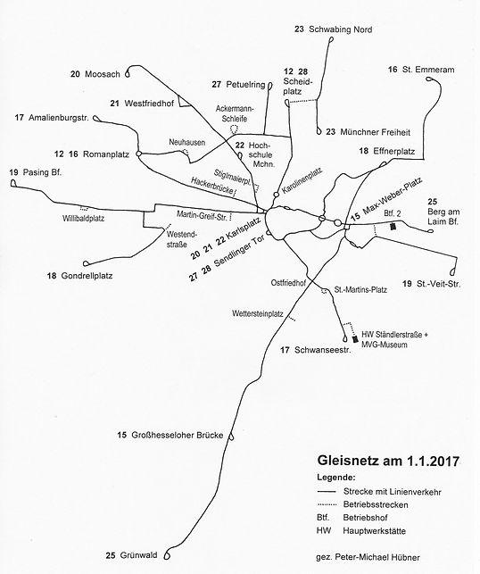 Zum 1.1. 2017 verkehren 13 Trambahnlinien auf 82 km Streckenlänge. münchen tram