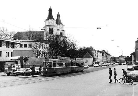 M4-Tw 2465 + m4-Bw 3486 beim Schloß Nymphenburg auswärts tram münchen 1983