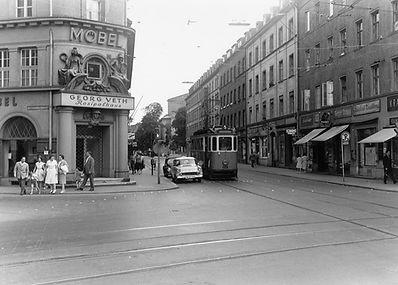 E-Tw 623 an der Reichenbach-/Rumfordstraße einwärts Juni 1960 tram münchen