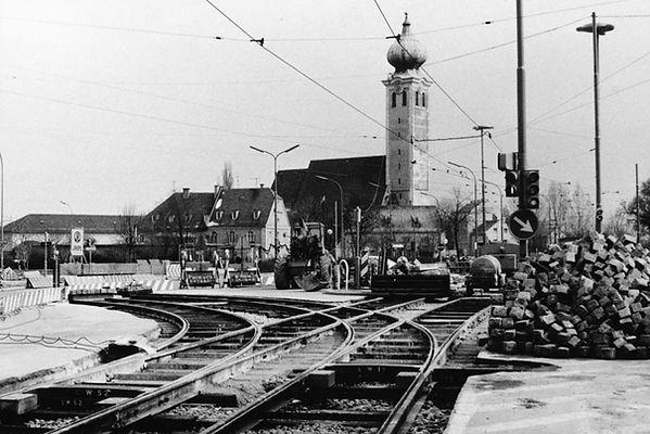 80-6-xx0973-PW Baustelle Ramerdorf Umfahrung Gleisbau trambahn tram