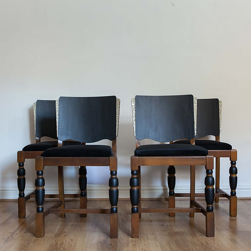 Set of Four Vintage Art Deco Inspired Oak Chairs