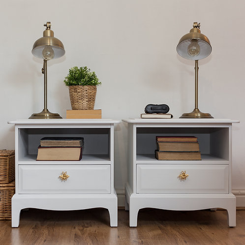 A Pair of Stag Bedside Tables in Casement White