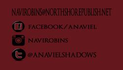 navi robins back of  business card