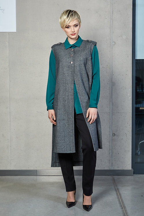 Woolen Sleeveless Vest With Buttons