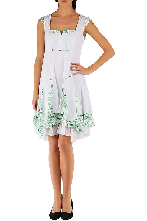 A-Line Dress With Winged Sleeves