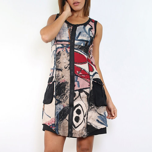 Sleeveless A-Line Dress With Front Pockets